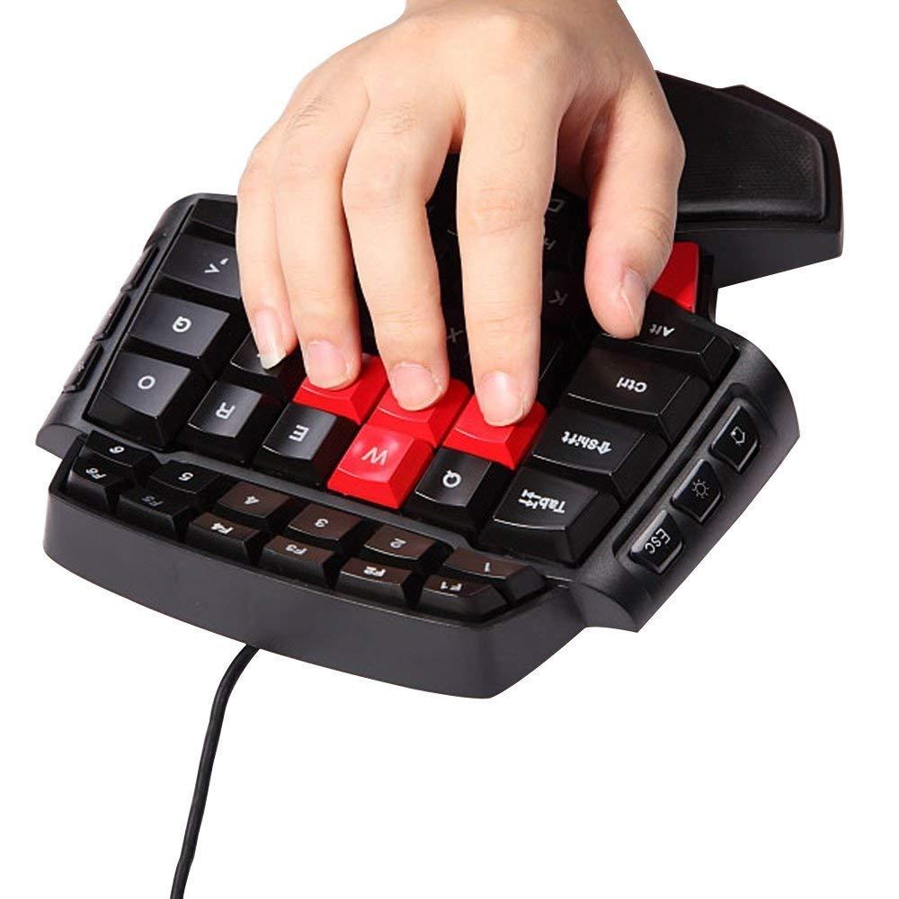 MOSTOP Keybaord One Handed Keyboard Portable Mini Gaming Keypad Ergonomic Game Controller for LOL Wow Dota Gaming Keyboard