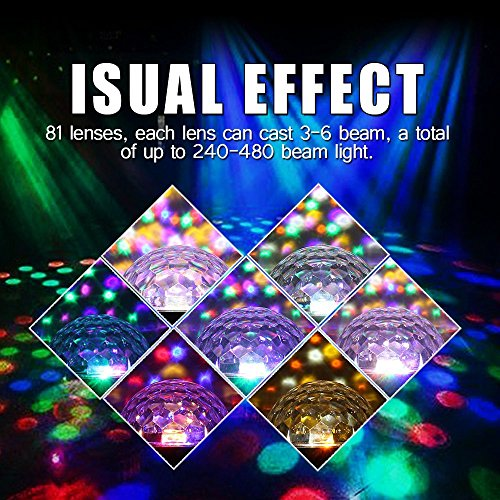 Stage Lights,Prolight LED Grystal magic ball light Led Projection Party Disco Ball DJ Lights Bluetooth Speaker Rotating Light with Remote Control Mp3 Play for KTV Xmas Party Wedding Show Club Pub by Prolight (Image #4)