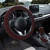 Entweg Conjunto de capa de volante fofo, 3 peças de capa de volante de inverno quente Capa de freio de mão capa de mudança de