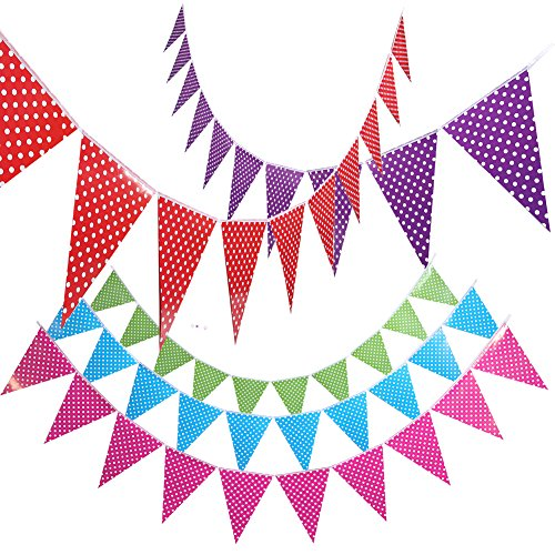 Christmas Paper Banner Decorations,Pennant Flag,Triangle Bunting for Kids Room,Baby Shower,Birthday,Wedding,Theme Party,Window Decorations by Cooque (dot-big)