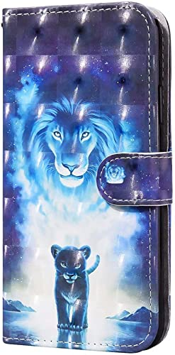 TTNAO Kompatibel mit SaAsung Galaxy A20 A30 Hulle 3D Visual PU Leather Flip Stand Kartenhalter Magnetisch Brieftaschenetui Schutzhulle 1 Handschlaufe Blauer Lowe