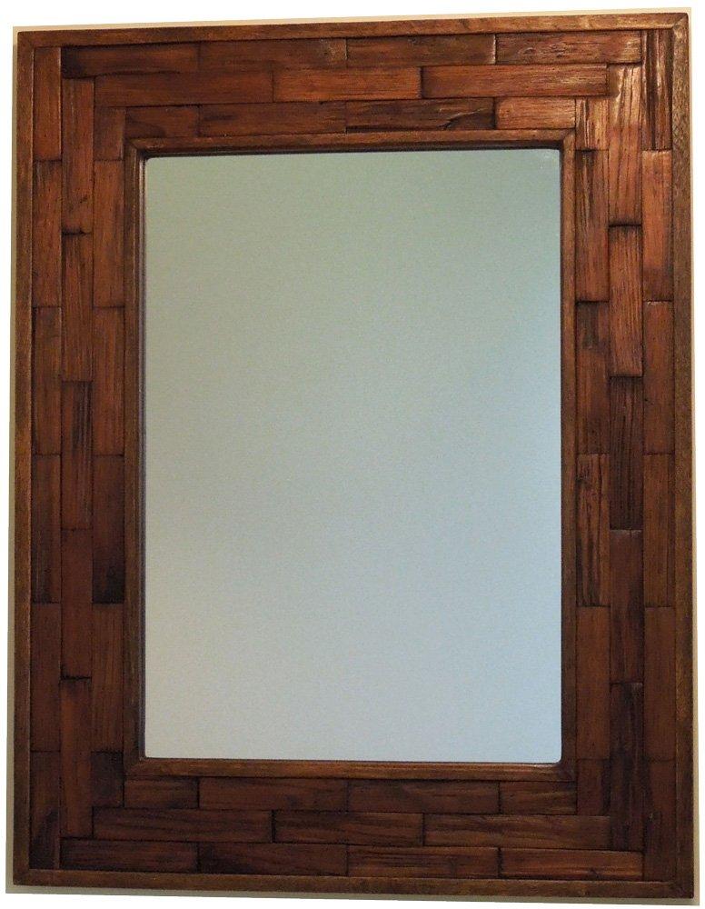 木製壁掛け鏡ウォールミラー【JHAアンティークミラー】ウッディレトロモダン(アカシア古木)組み木(L) W546×H700 (ダークブラウン) AT-2-DBR 木枠ミラー B00MLZC57Iダークブラウン