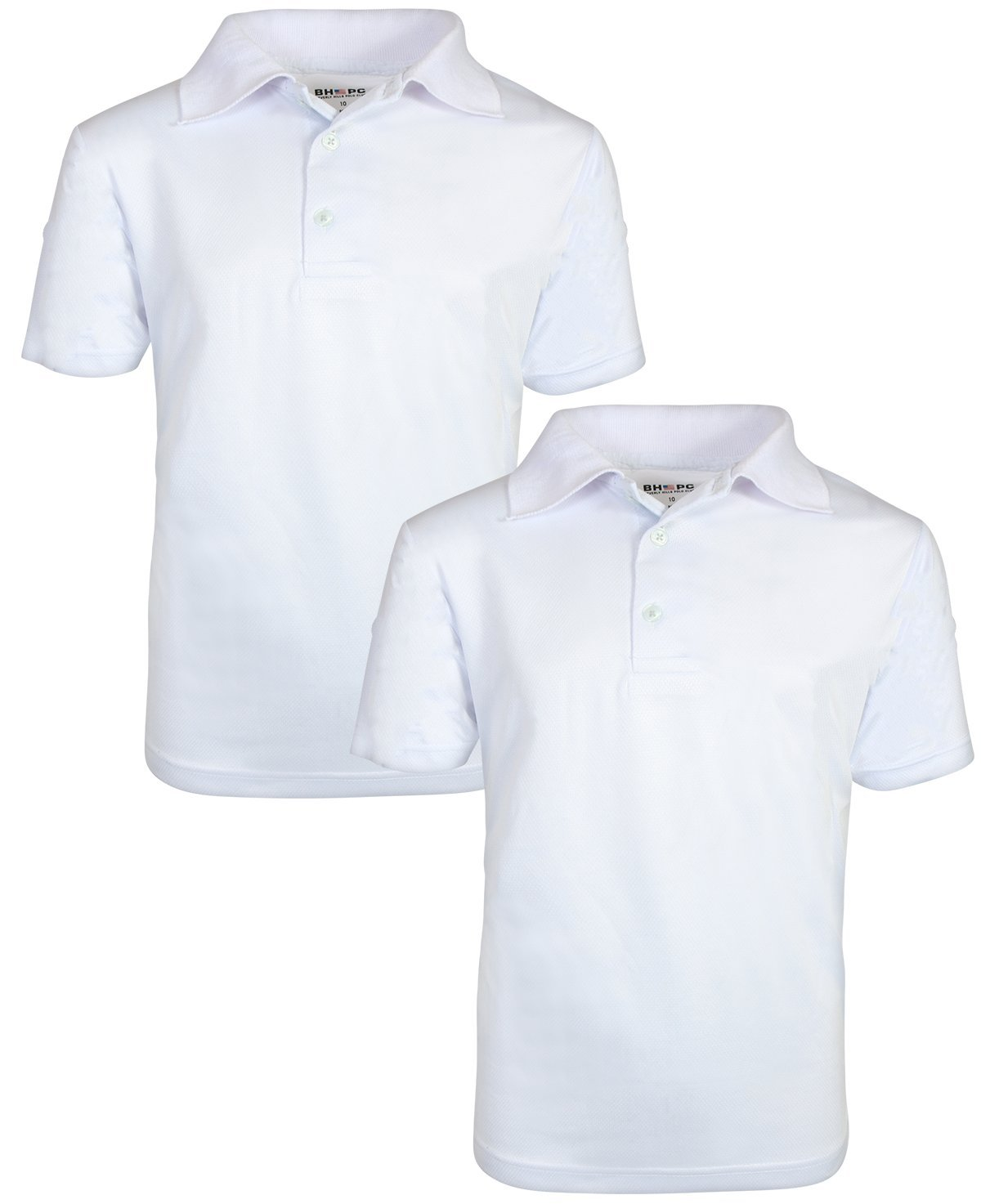 Beverly Hills Polo Club Boys Short Sleeve Dry-Fit Performance School Uniform Polo (2 Pack), White, 6'
