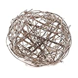 Package of 4 Platinum Sparkling Rattan Balls for Home Decor, Displaying and Designing