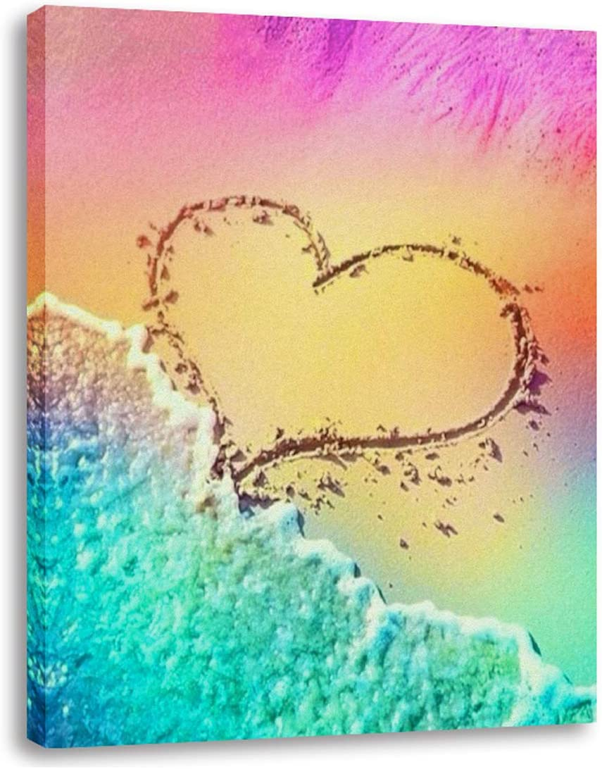 AGCary Multicolor Love Heart Beach Poster Wall Decor Print Paintings Canvas Modern Giclee Abstract Landscape Home Decor Wooden Framed Stretched Print on Canvas Ready to Hang 16