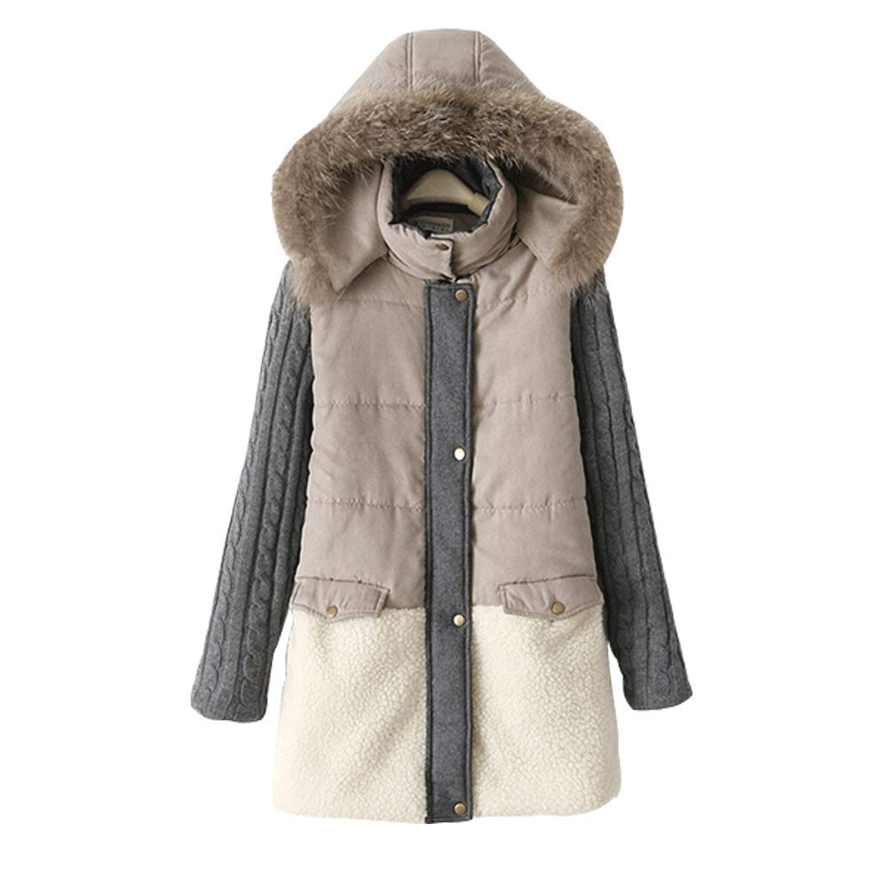 LINGMIN Women's Faux Fur Hood Down Coat color Block Splicing Long Hooded Winter Jacket
