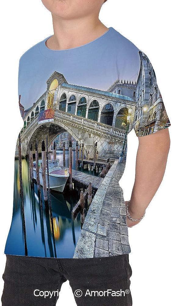 PUTIEN Venice Childrens Summer Casual T Shirt Dresses Short Sleeve,Morning Twilight Gr