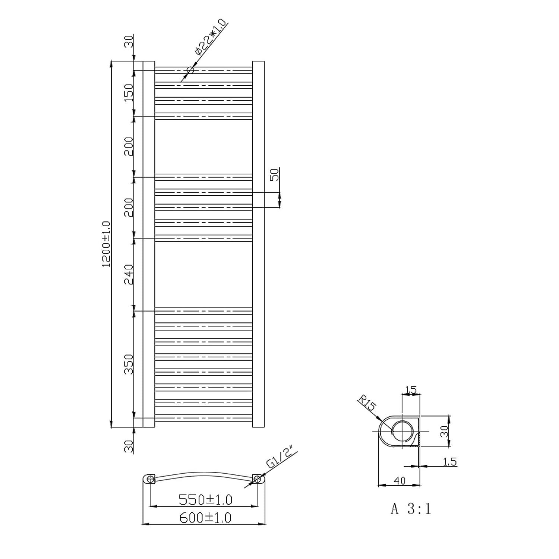 ENKI radiador toallero para ba/ño dise/ño plano cromado 1200 x 600 mm