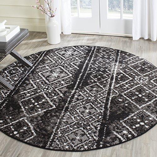 - Safavieh Adirondack Collection ADR111C Black and Silver Contemporary Bohemian Distressed Round Area Rug (6' Diameter)