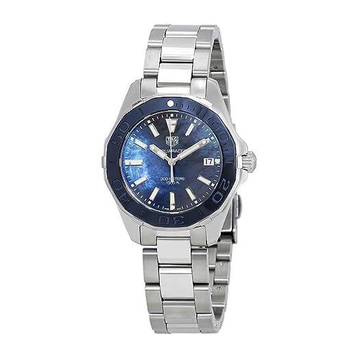 TAG Heuer Aquaracer Reloj de mujer cuarzo 35mm correa de acero WAY131S.BA0748: Amazon.es: Relojes