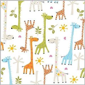 "Happy Giraffe Baby Shower Gift Wrap Flat Sheet - 24"" x 6'"