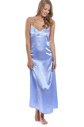 5c52c48d68215e Jadee Damen Seiden Nachthemd lang 100% Seidensatin in 3 Farben: Amazon.de:  Bekleidung