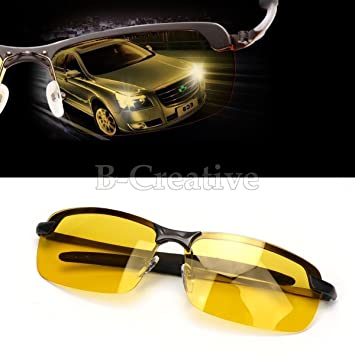 befa0079d34 B-Creative Sunglasses Mens HD Polarized Anti Glare Night Driving Glasses  Gents Yellow Lens  Amazon.co.uk  Sports   Outdoors
