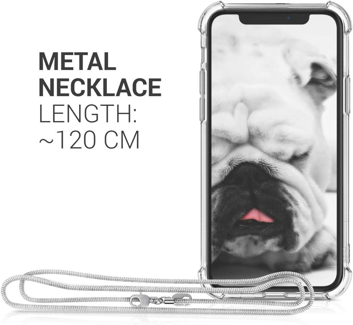 Carcasa TPU Transparente Case con cord/ón de Metal de 120CM kwmobile Funda de Silicona Compatible con Apple iPhone 11 Pro