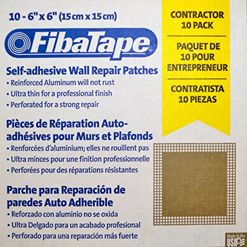 10-Pack - FibaTape 6x6 square sheet 6 inch by 6 inch Self-Adhesive Perforated Wall/Ceiling Drywall/Plaster Hole Repair Patch Patches - Aluminum Metal and Fiberglass Mesh/Screen - Contractor 10-Pack