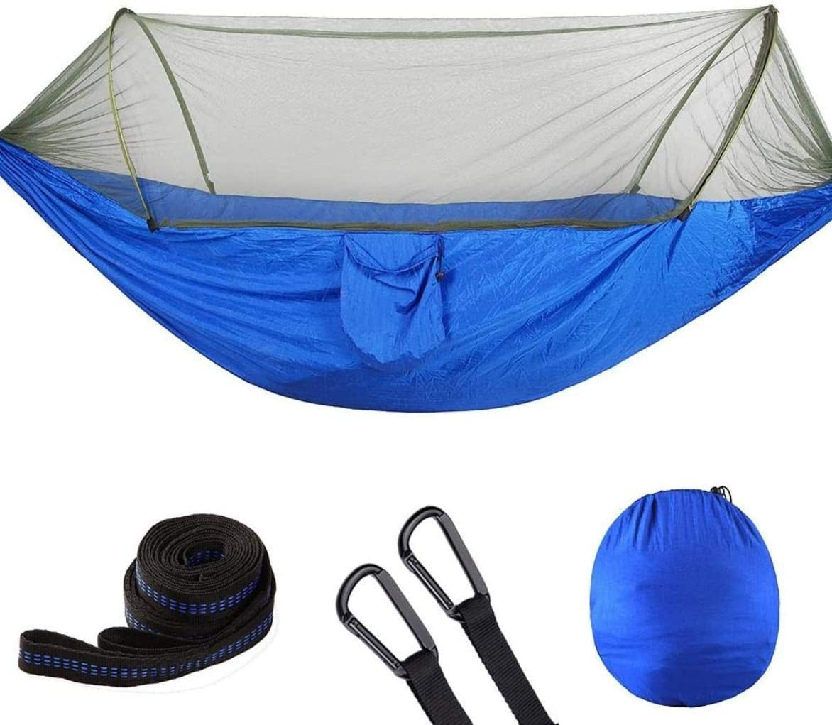Zixin Hamaca Anti-Mosquitos Camping Hamaca con Hamaca árbol con portátil de Nylon de paracaídas Hamaca Mochila Ligera Durable, Negro (Color : Blue)