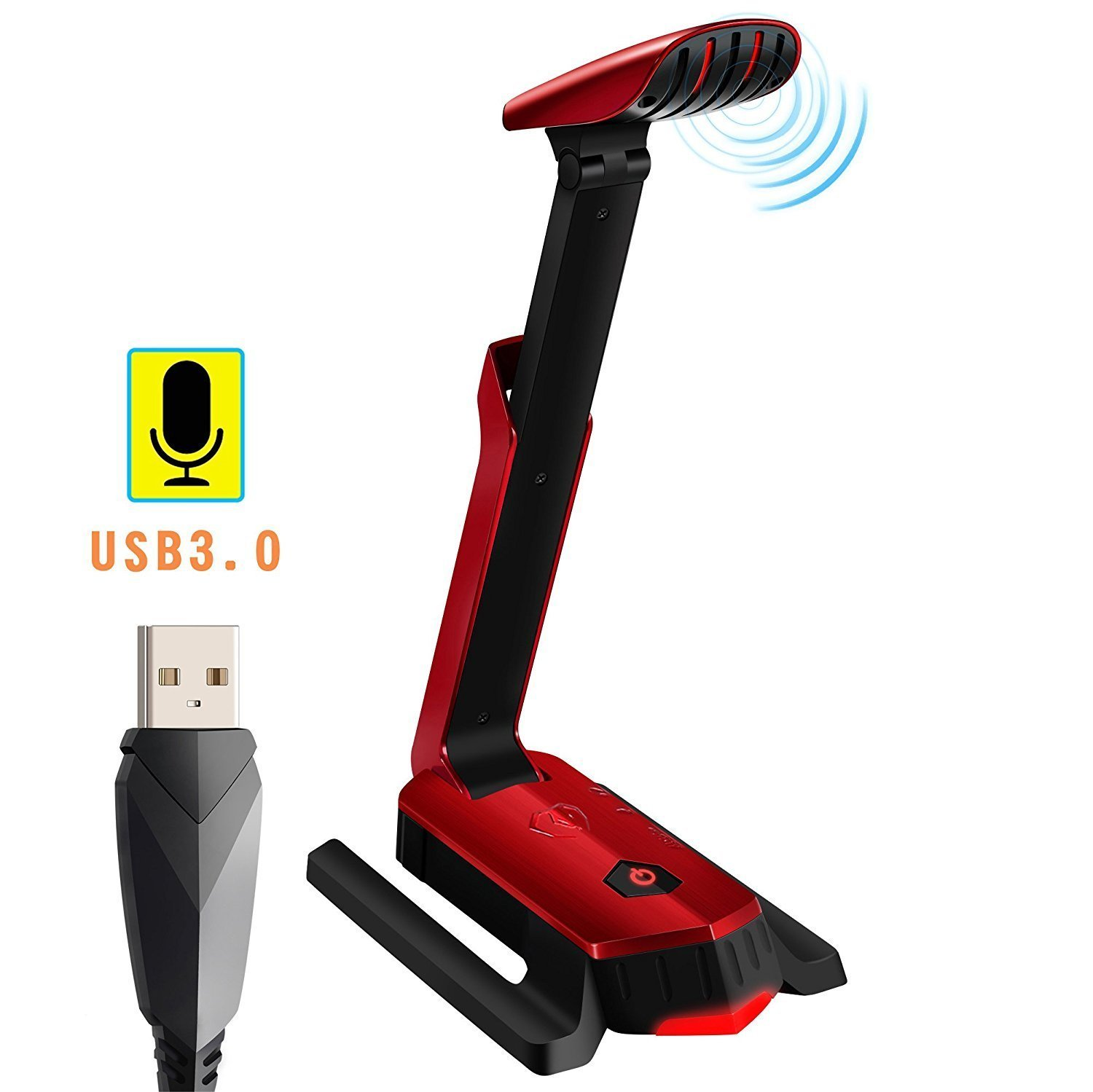 Beexcellent Desktop USB Computer Microphone Flexible for PC, Laptop, PS4, Gaming, Chatting, Meeting, Podcast, Recording (Red) GM-290
