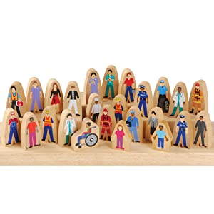 Constructive Playthings Wooden Community Helpers, Set of 25 Pieces for Block Play
