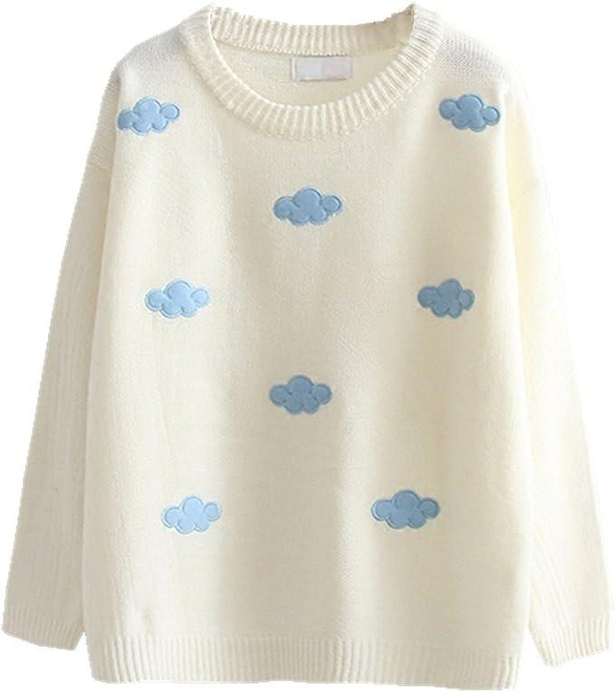 White Kawaii Clouds Sweater