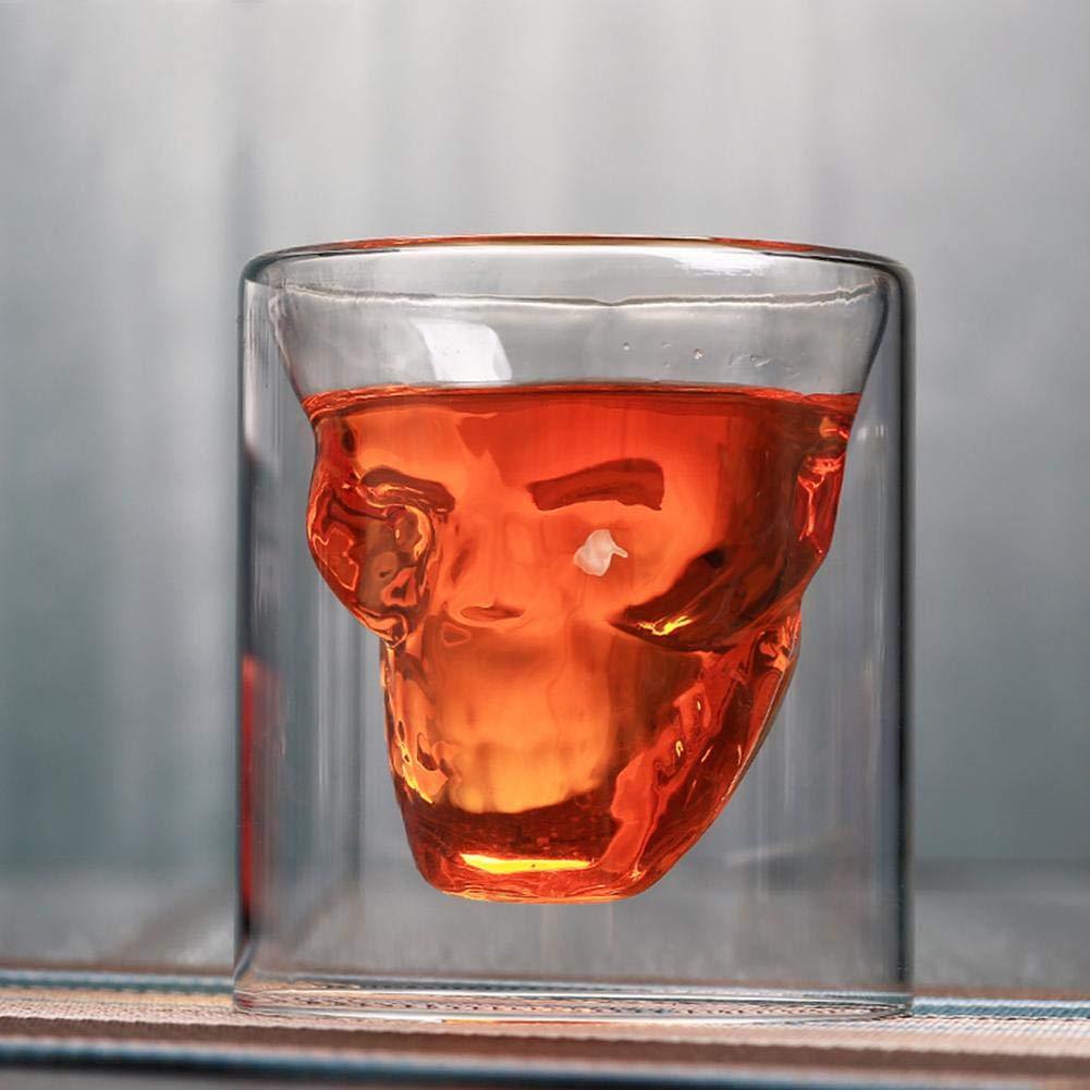 kingromargo Skull Doppio Strato Trasparente Tazza di Vetro Tazza di Birra per Bar a casa Birra Acqua, 150 ml
