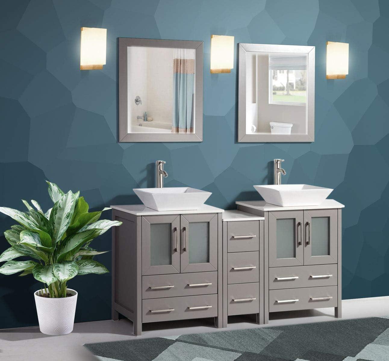 Amazon Com Vanity Art 60 Inch Double Sink Bathroom Vanity Compact Set 3 Cabinets 2 Shelves 7 Drawers Quartz Top And Ceramic Vessel Sink Bathroom Cabinet With Free Mirror Va3124 60 G Kitchen Dining