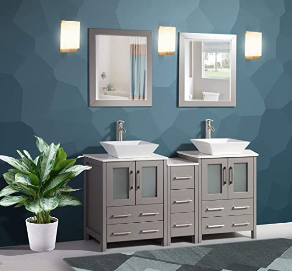 Vanity Art 60 Inch Double Sink Bathroom Vanity Compact Set 3 Cabinets 2 Shelves 7 Drawers Quartz Top and Ceramic Vessel Sink Bathroom Cabinet