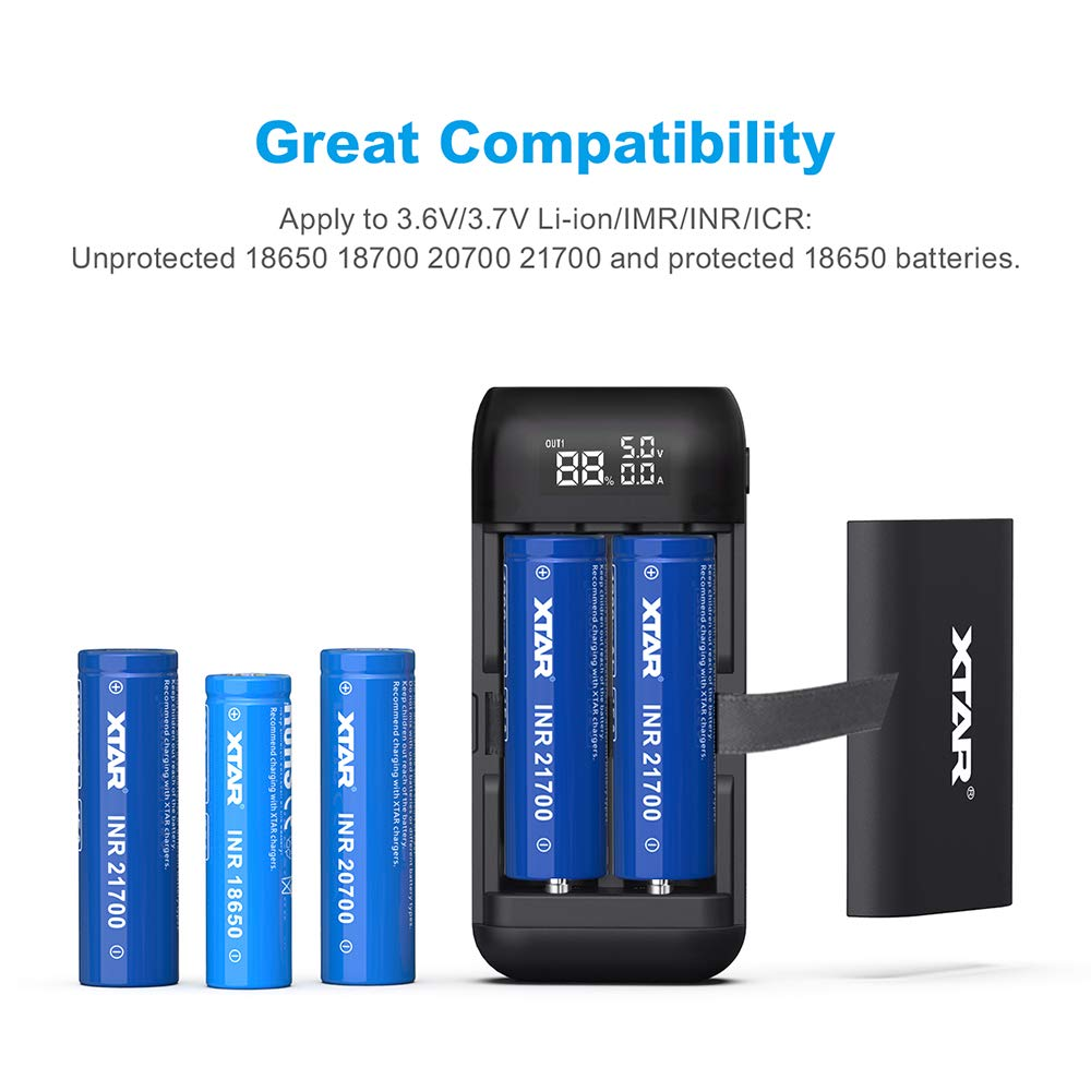 ALLMAYBE XTAR PB2S Type C Dual-Role 18650 18700 20700 21700 Portable Charger with USB Output Function (Black)