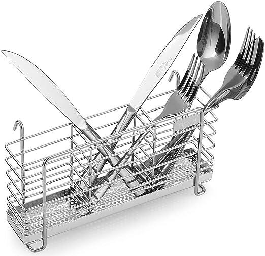 Rust Proof Stainless Steel Utensil Drying Rack Basket Holder With Hooks