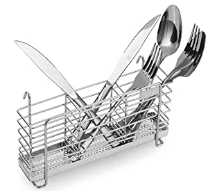 Sturdy 304 Stainless Steel Utensil Drying Rack Basket Holder with Hooks 3 Divided Compartments, Rust Proof, No Drilling