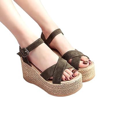 2ec41219a0f Moonuy Women Ladies Summ Erelegant Vintage Women Fashion Casual Women Solid  Bohemia Peep Toe Wedges Thick