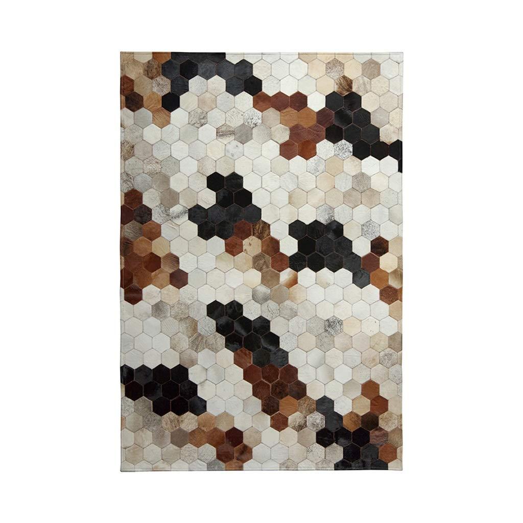 ラグカーペットマット カーペットレザー幾何学的なモザイクカーペットホームルーム長方形のカーペットベッドルームのベッドサイドカーペットのリビングルームソファのコーヒーテーブルマット Rugs (Color : Brown, Size : 140 * 200cm) 140*200cm Brown B07JRCPNNG
