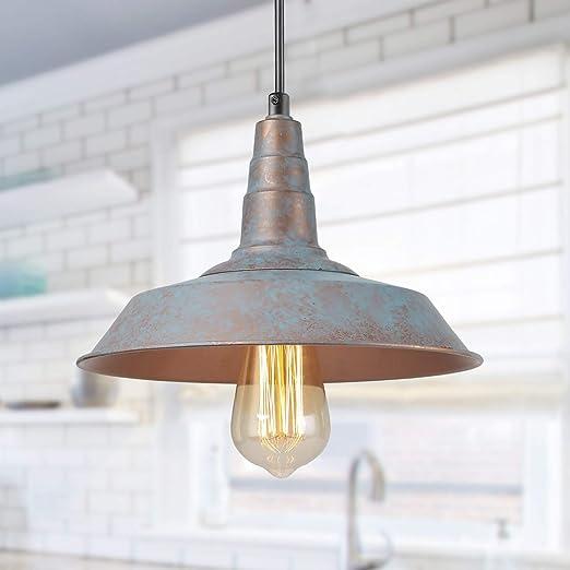 LALUZ Pendant Lighting for Kitchen Island, Farmhouse Pendant Light, Rustic  Barn Blue Bronze Distressed Finish for Dining Room, Bedroom, Living Room