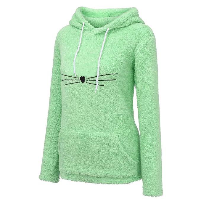 5bd8c18db47 BOLUOYI Sweatshirt for Women Women s Long Sleeve Fleece Warm Cute Cat Shape  Fuzzy Hoodie Pullover S
