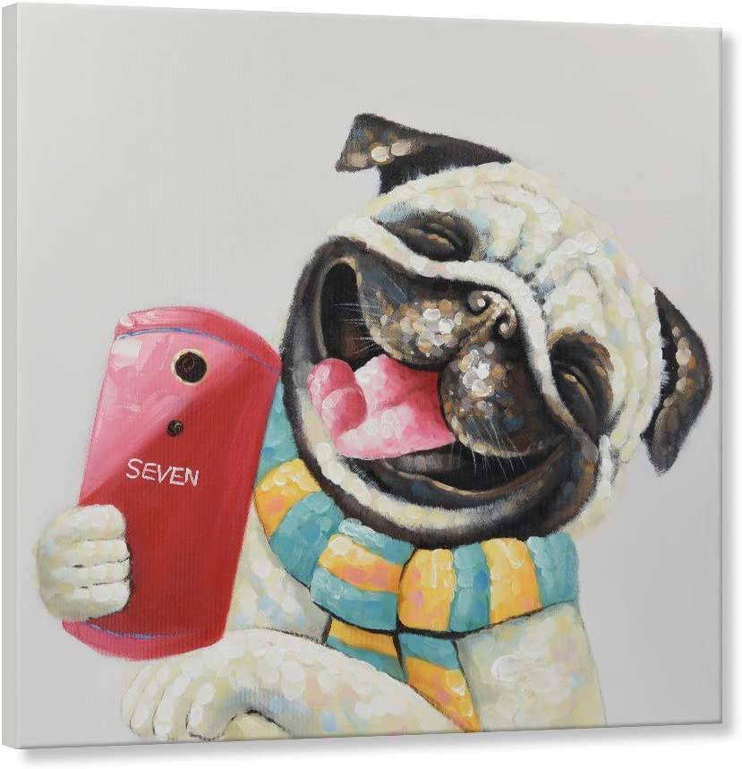 Art Animal Graphy Pug Dog Treat Food Eyes Cute Large Wall Art Poster Print
