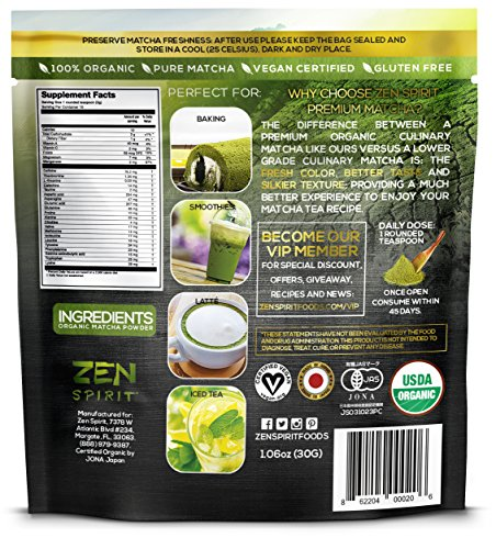 Matcha Green Tea Powder Organic - Japanese Premium Culinary Grade, Unsweetened & Sugar Free - USDA & Vegan Certified - 30g (1.06 oz) - Perfect for Baking, Smoothies, Latte, Iced tea & Weight Loss.