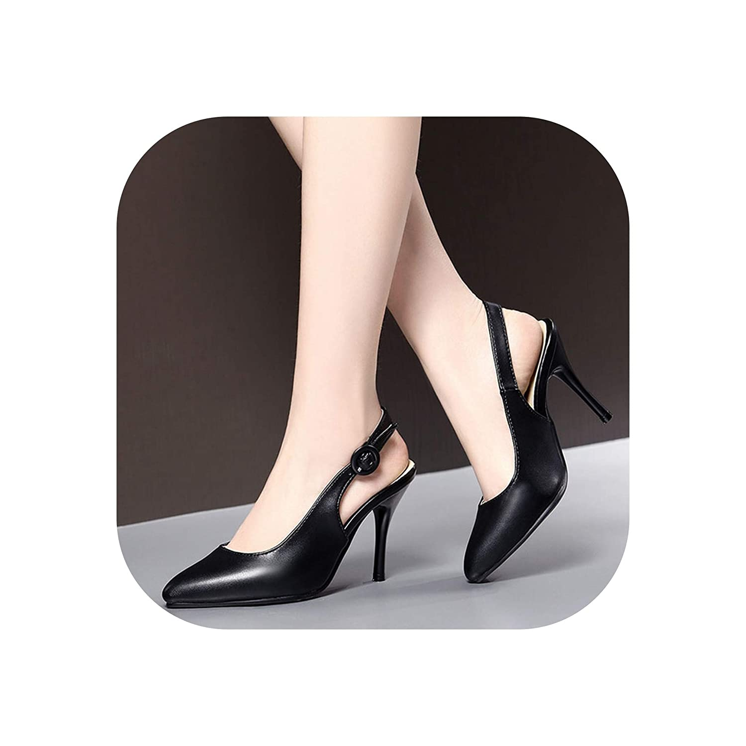 Black Summer Comfortable High Heel Pointed Toe Ladies Sandals shoes Woman Sexy shoes