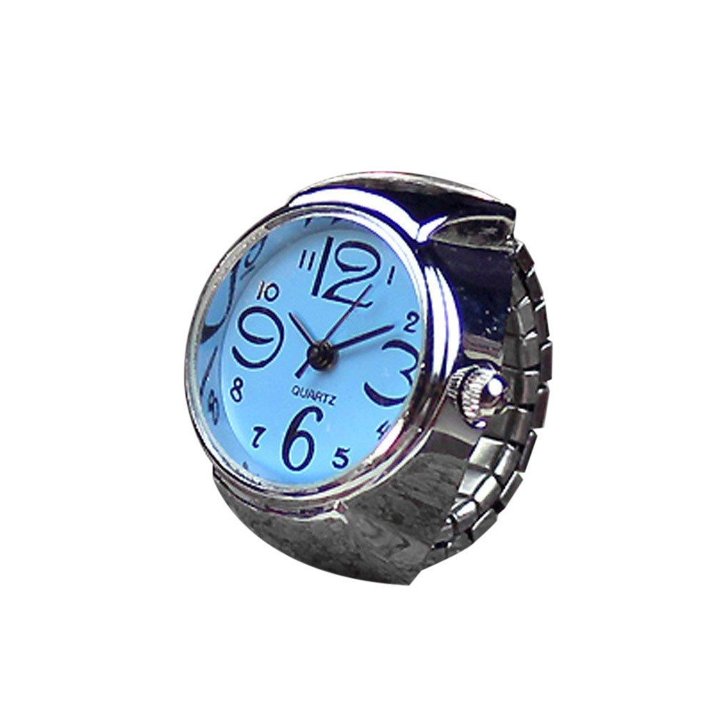 yijiamaoyiyouxia Clearance Dial Quartz Analog Watch Creative Steel Cool Elastic Quartz Finger Ring Watch (Blue)