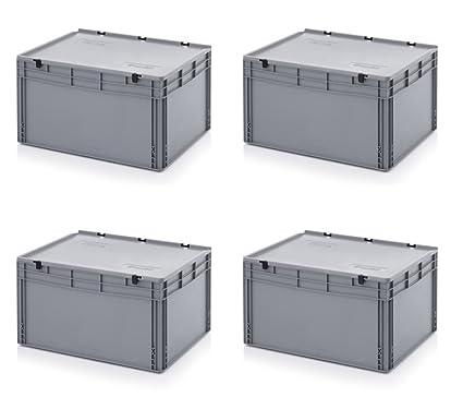 4 x Euro de cajas Euro Box 80 x 60 x 43,5 cm tapa