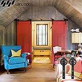WINSOON 5FT Wood Double Sliding Barn Door Hardware Basic Black Big Spoke Wheel Roller Kit,5-18FT for Choose