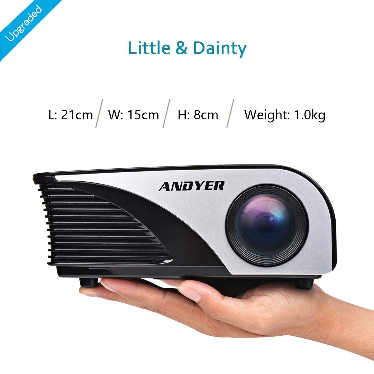 Andyer 805B-Plus Portable Projector LED Mini Projector Support HD 1080P 1500 Luminous Efficiency 150'' for Movie Night/Game,Support Blu-ray DVD player,Laptops,Tablets,Smartphones by Andyer