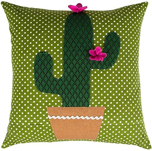 Verde Patterned Cactus - Cojín Cojín de fieltro verde, con ...