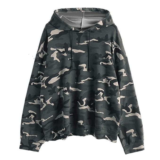 e895e47b56bdf0 HHei_K Womens Lounge Camouflage Print Drawstring Hoodie Long Sleeve Loose Hooded  Sweatshirt Pullover Top at Amazon Women's Clothing store: