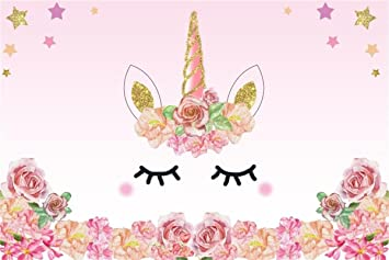 aofoto 5x3ft cartoon pink unicorn background birthday party banner sweet flowers backdrop kid baby shower infant newborn girl art portrait photo