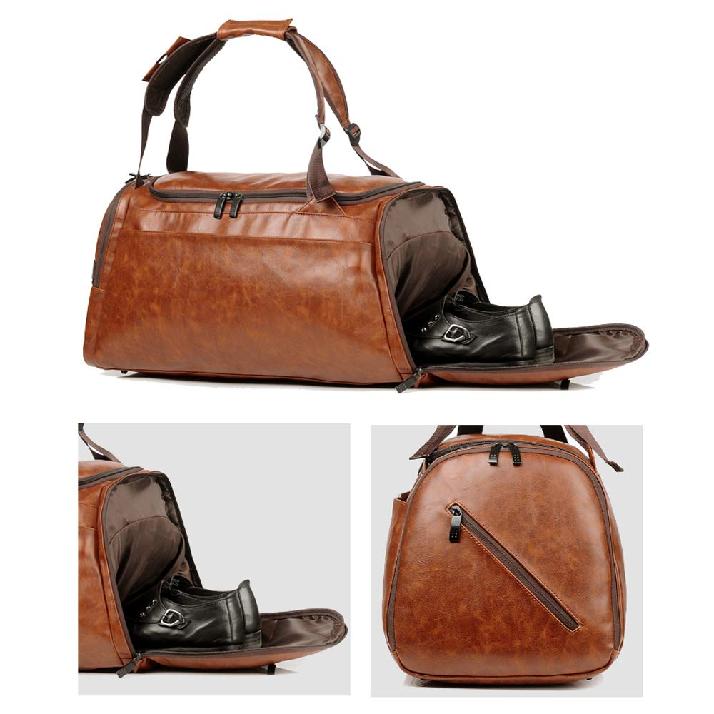 Leather Duffel Bag | Large Capacity Weekend Overnight Travel Gym Sport Luggage Tote for Men and Women – By (YOUR BRAND NAME) (vintage brown) by sdiyabolo (Image #5)