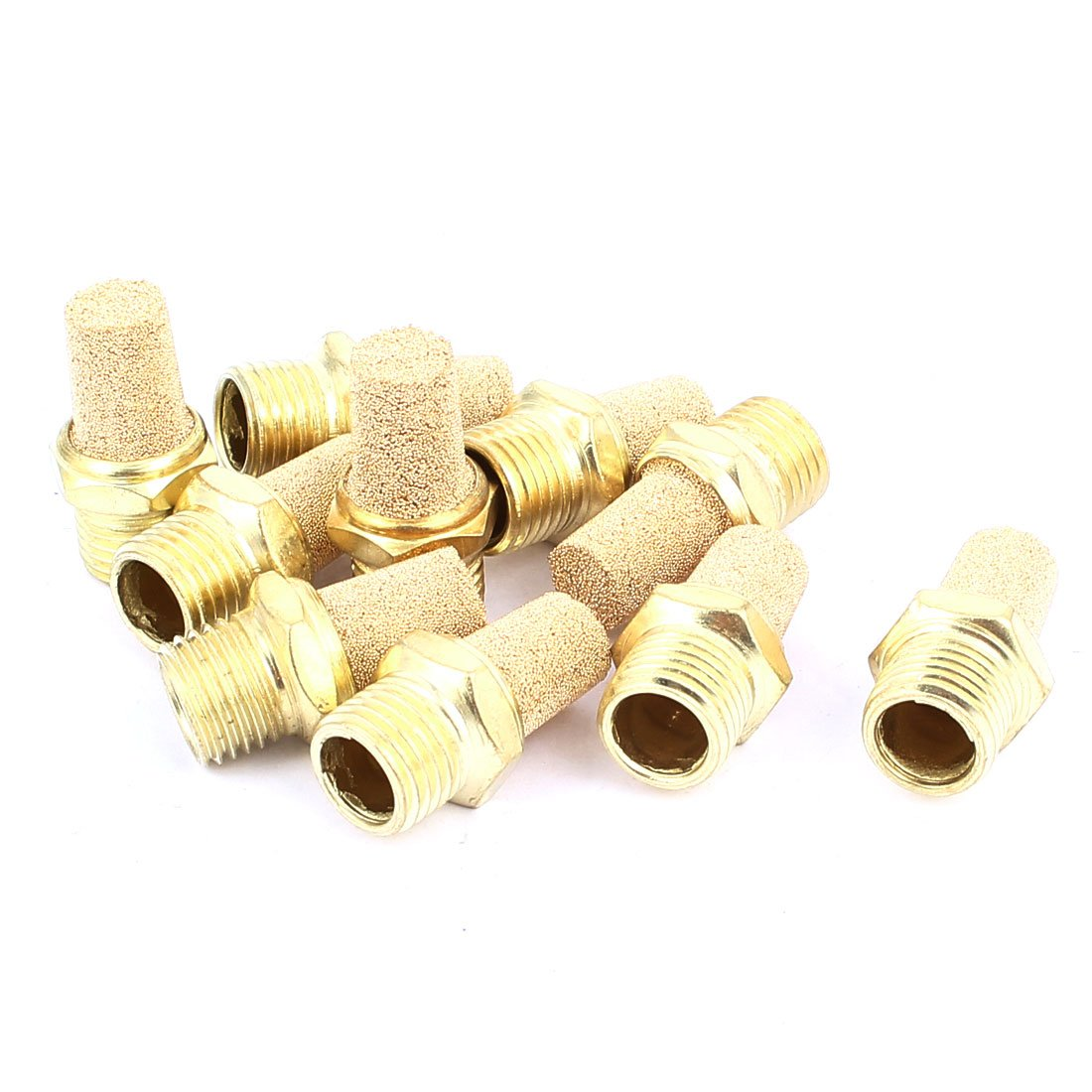 uxcell 1/4PT Male Thread Pneumatic Muffler Filter Exhaust Brass 10 Pcs