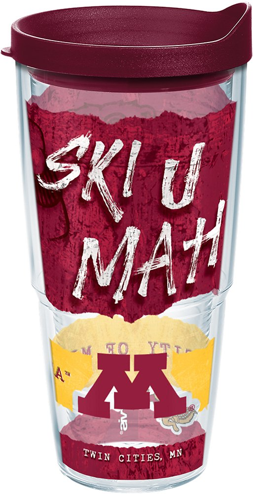 24oz Tervis 1245757 Minnesota Golden Gophers College Statement Insulated Tumbler with Wrap and Maroon Lid Clear