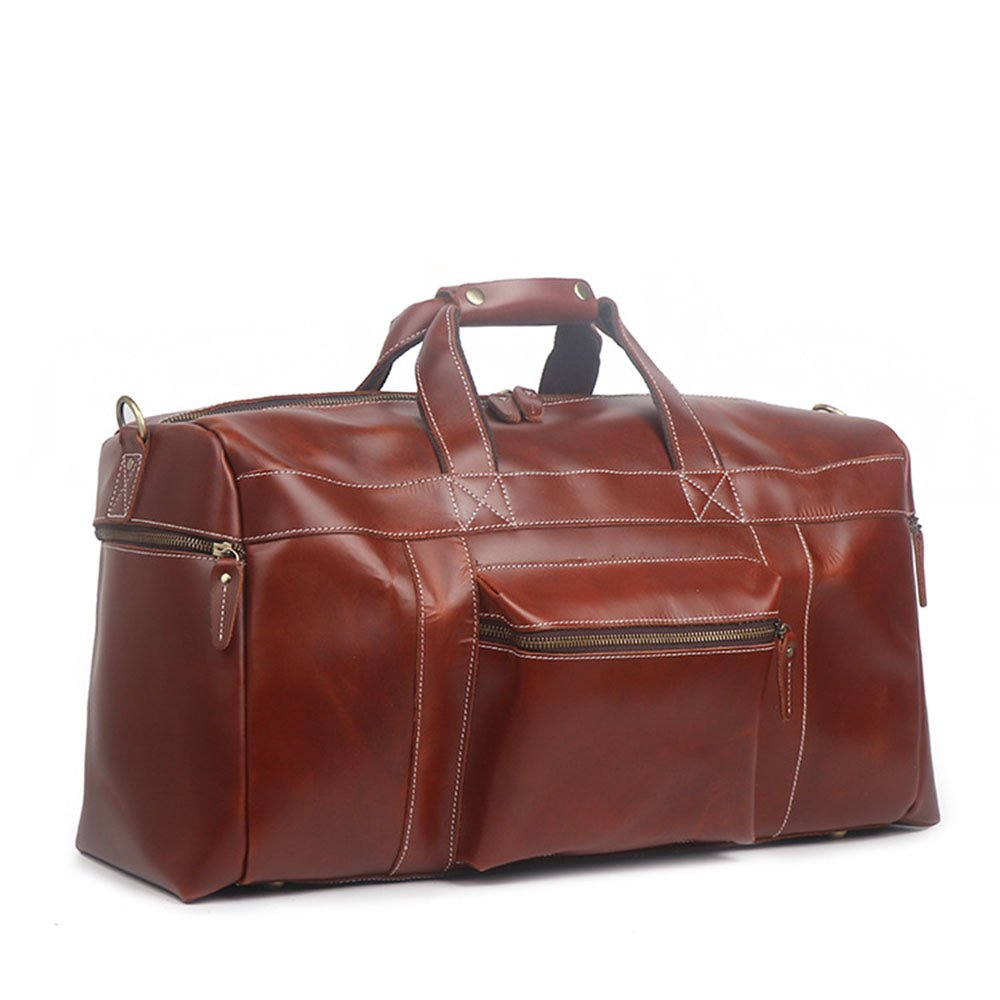 FLYSXP The First Layer of Leather Mens Handbags Travel Out of The Diagonal Diagonal Large Capacity Luggage Bag 56 X 20 X 30cm Luggage Bags