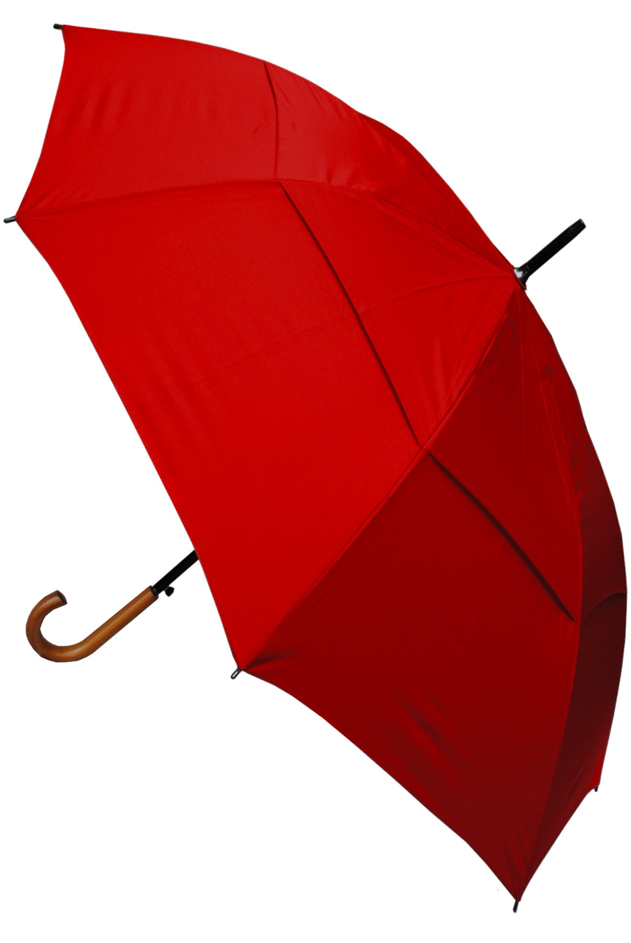 COLLAR AND CUFFS LONDON - Windproof EXTRA STRONG - StormDefender City Umbrella - Vented Canopy - HIGHLY ENGINEERED TO COMBAT INVERSION DAMAGE - Auto Open - Solid Wood Hook Handle - Red Wedding