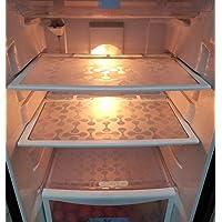 Khushi Creation PVC Double Coin Design Refrigerator Drawer/Fridge/Multi-Purpose Mats (White) - Set of 6 Pieces