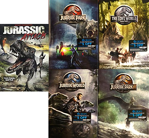 Dinosaur Legacy Jurassic Park 1/2/3 Lost World & Jurassic World + Jurassic Attack 5 DVD Collection Feature Movie Bundle